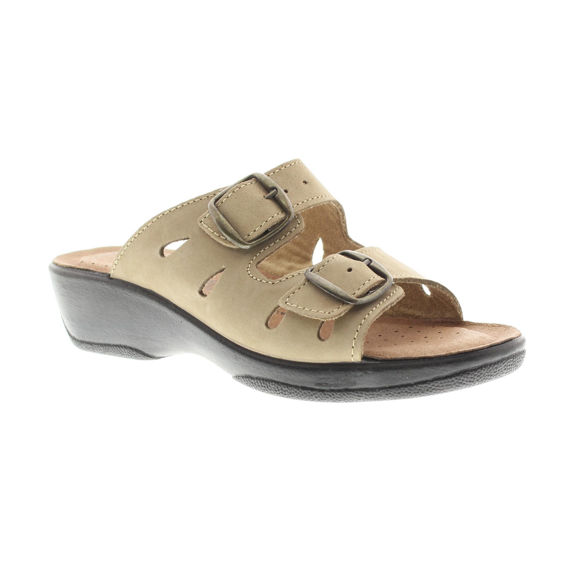 Flexus Decca Beige Slide Sandal by Spring Step