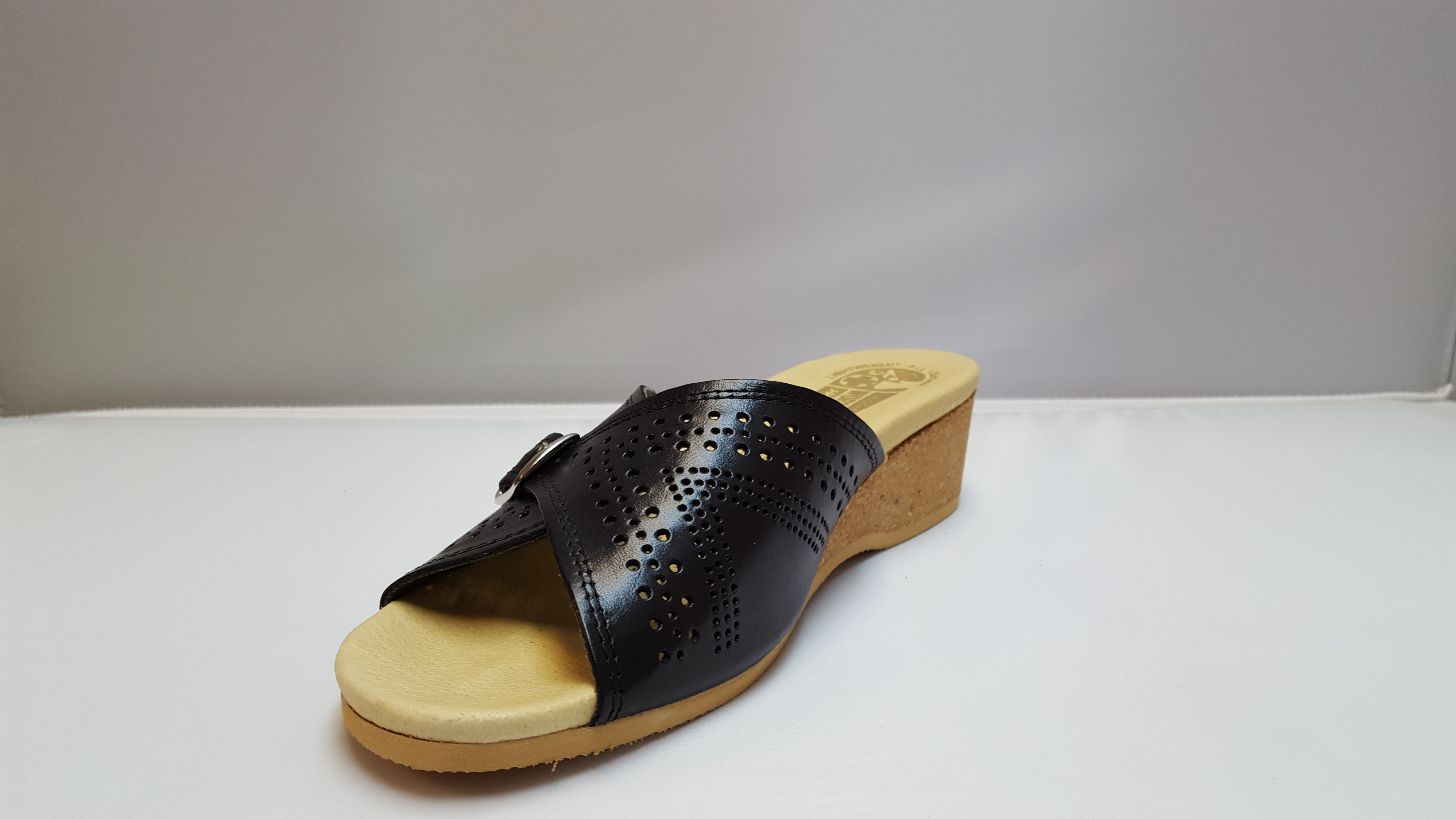 f35837c2556f Worishofer 251 Women s Black Leather Wedge slide sandal - River ...