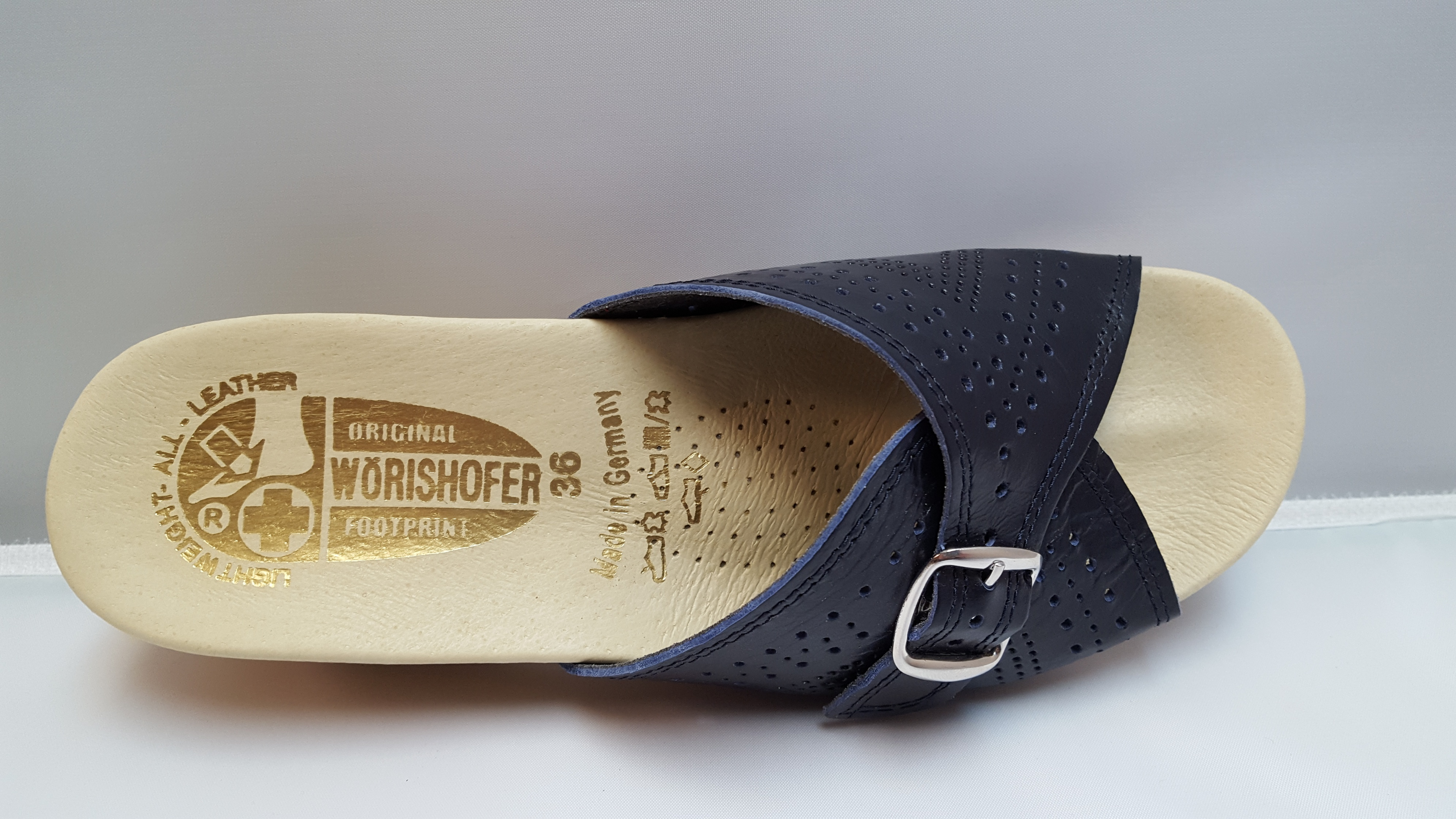 1b94bf356661 Worishofer 251 Women s Navy leather Wedge Slide Sandal - River ...