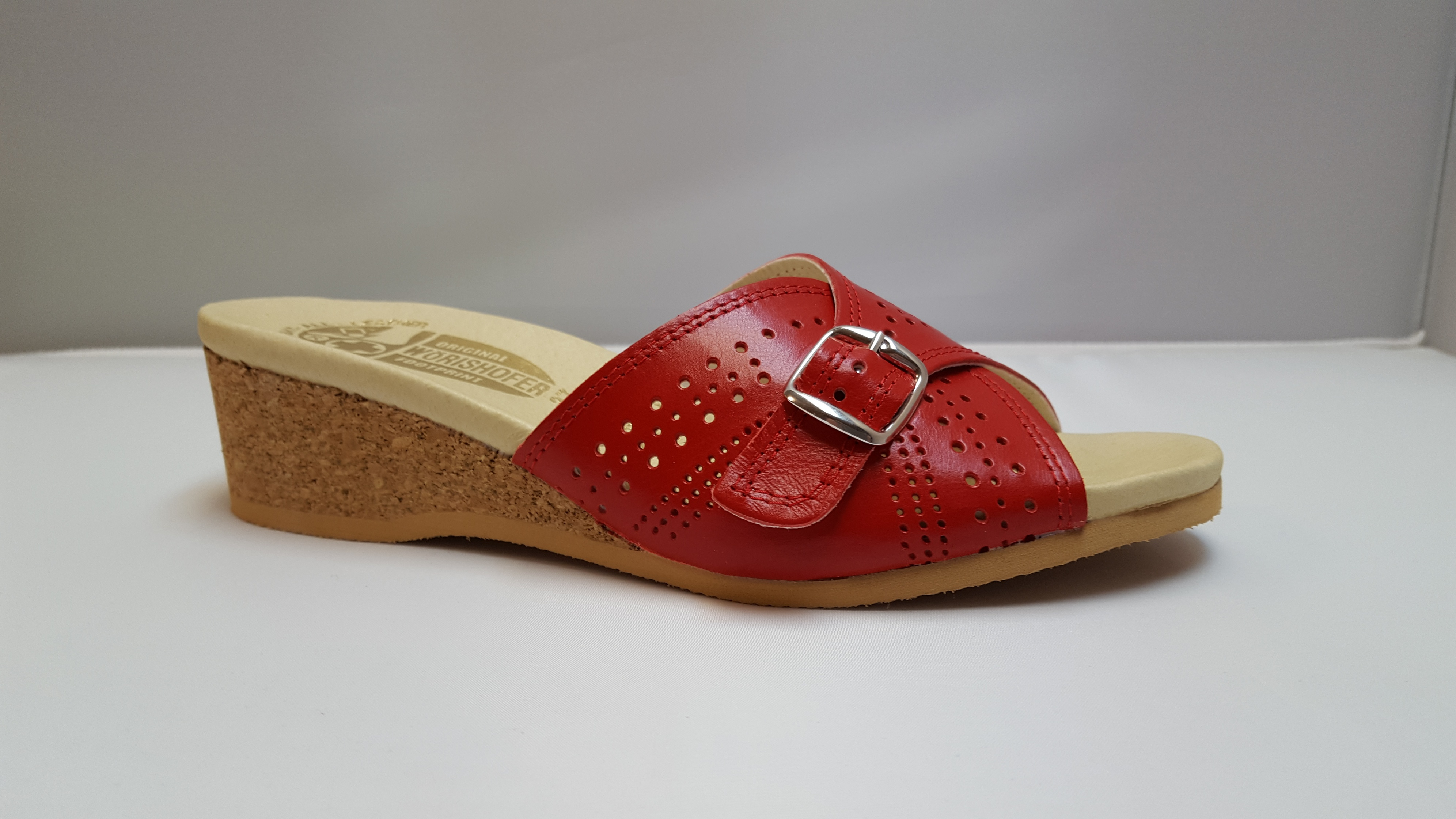a66d538ca8d6 Worishofer 251 Women s Red leather Wedge Slide Sandal - River Valley ...